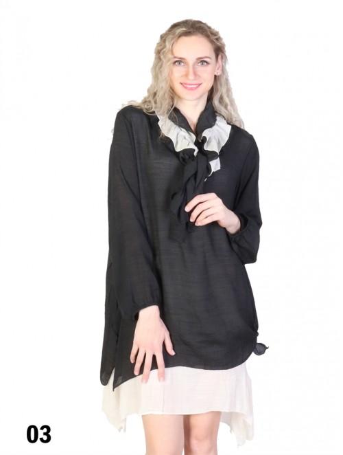 Layered Long Sleeve Shift Dress W/ Belt or Scarf
