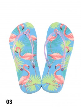 Flamingo With Leaves Print Flip Flop