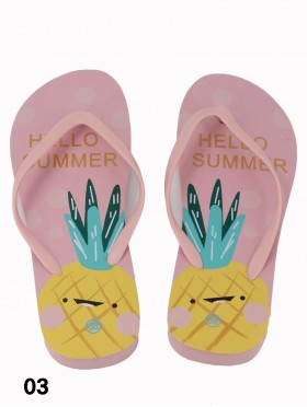 """Hello Summer"" Pineapple Print Flip Flop"