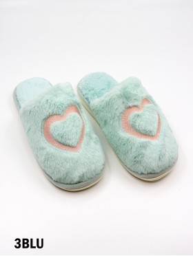 Soft Plush Heart Fuzzy Indoor Slippers