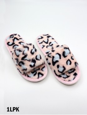 Open Toe Leopard Soft Plush Fuzzy Indoor Slippers