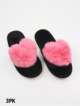 Open Toe Faux Fur Heart Design Indoor Slippers