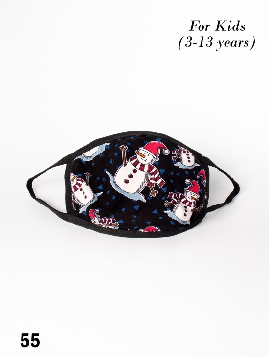 Kid's Reversible Snowman Print Fabric Face Mask (3-13 Years)