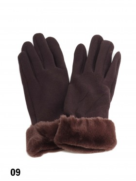 Touch Screen Glove With Faux Leather Edge