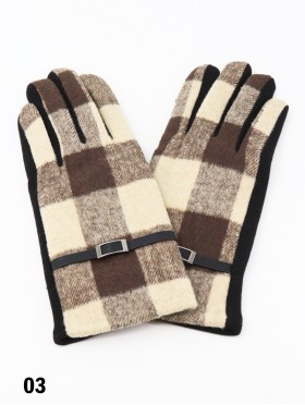 Plaid Touch Screen Glove W/ Belt