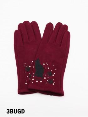 Cat Print Touch Screen Glove W/ Rhinestone & Pearls