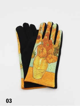 Oil Painting Sunflower Design Touch Screen Glove
