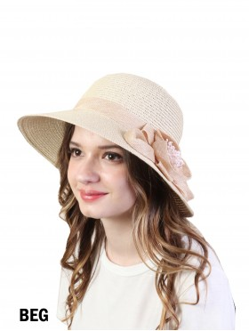 Summer Straw Hat W/ Flower
