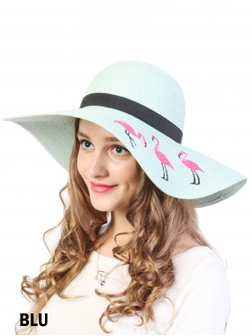 Summer Flamingo Embroidery Sun Hat