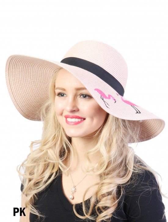 Summer Flamingo Embroidery Sun Hat