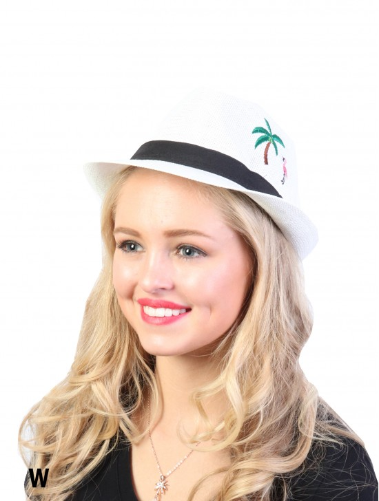 Summer Flamingo & Tree Embroidery Fedora Hat