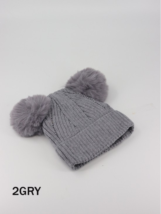 Kids Double Pom Pom Knitted Hat (Plush Inside)