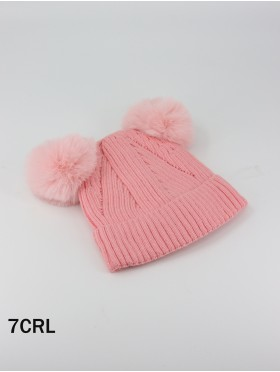 Double Pom Pom Knitted Hat (Plush Inside)