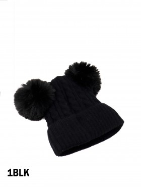 Double Pom Pom Knitted Hat For Kids (Plush Inside)