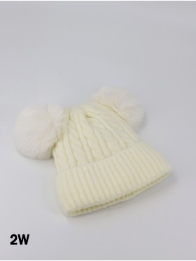 Double Pom Pom Knitted Hat For Kids (Plush Inside)