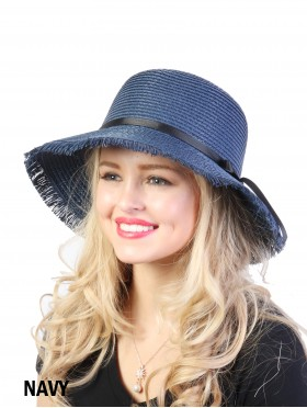 Summer Straw Hat W/ Black Ribbon Bow