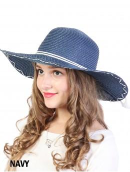 Summer Floppy Straw Hat W/ Bow and Tassel