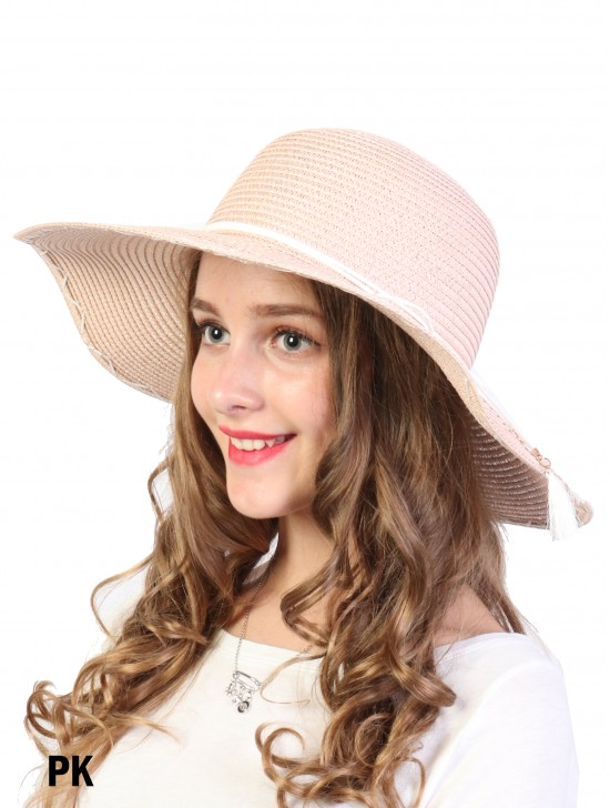 Summer Floppy Straw Hat W/ Bow and Tassel
