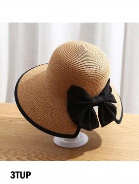 Wide Brim V-Back Summer Hat W/ Ribbon Bow