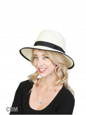 Summer Fedora Hat W/ Black Edge