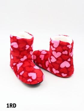 Heart Patterned Women's Light Weight Slipper Socks