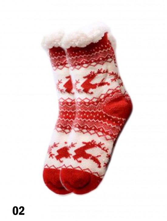 Winter Print Indoor Anti-Skid Slipper Socks