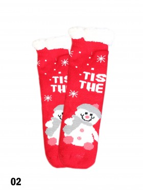 Christmas Winter Print Indoor Anti-Skid Slipper Socks (With Heel)