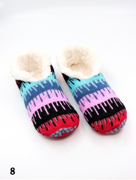 Water Ripple Patterned Indoors Anti-Skid Winter Slipper Socks