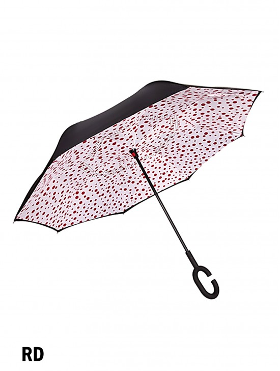 Red Dot Print Double Layer Inverted Umbrellas W/ C-Shaped Handle