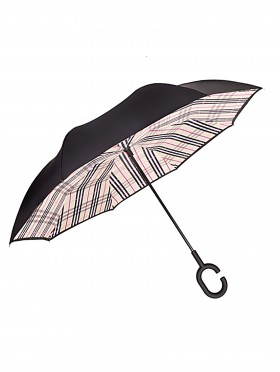 Plaid Print Double Layer Inverted Umbrellas W/ C-Shaped Handle