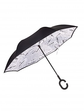 Newspaper Print Double Layer Inverted Umbrellas W/ C-Shaped Handle