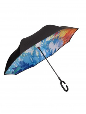 Fire & Ice Print Double Layer Inverted Umbrellas W/ C-Shaped Handle