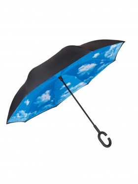 Sky Print Double Layer Inverted Umbrellas W/ C-Shaped Handle