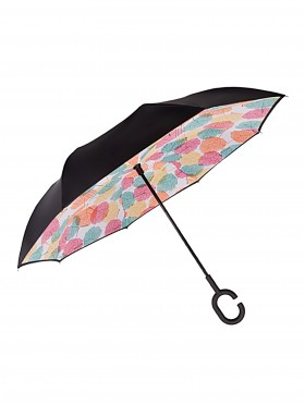 Maple Leaf Print Double Layer Inverted Umbrellas W/ C-Shaped Handle