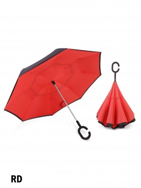 Solid Print Double Layer Inverted Umbrellas W/ C-Shaped Handle