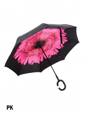 Pink Flower Print Double Layer Inverted Umbrellas W/ C-Shaped Handle