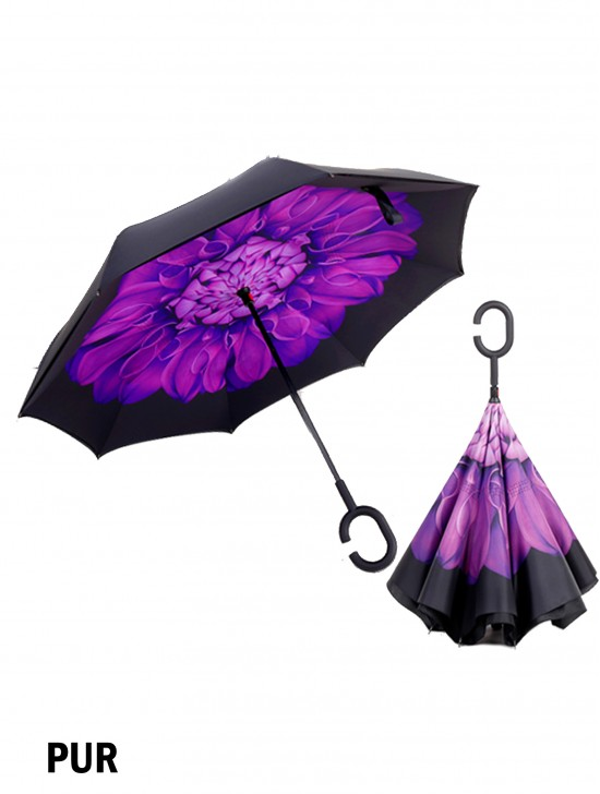 Purple Flower Print Double Layer Inverted Umbrellas W/ C-Shaped Handle