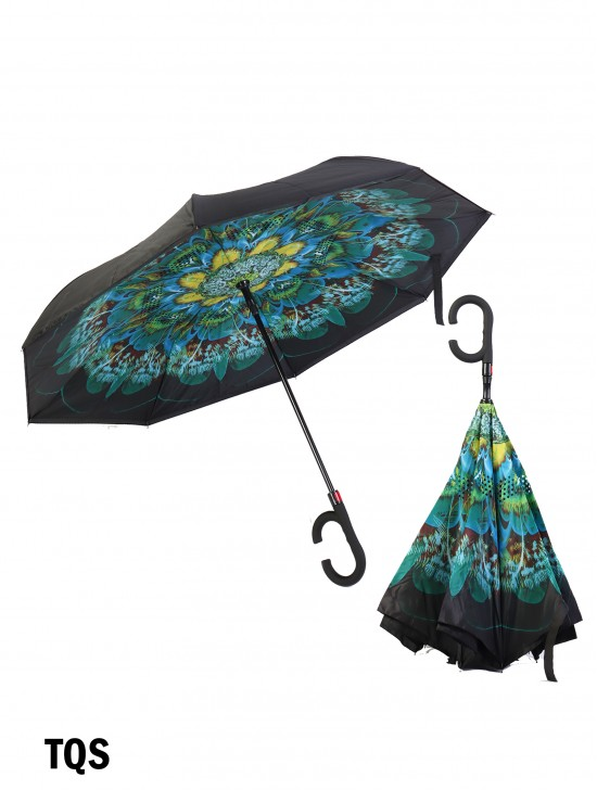 Turquoise  Flower Print Double Layer Inverted Umbrellas W/ C-Shaped Handle