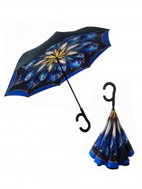 Blue Fireworks Print Double Layer Inverted Umbrellas W/ C-Shaped Handle