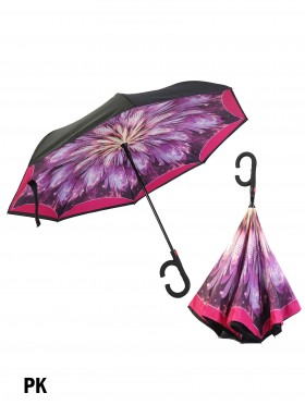 Pink Fireworks Print Double Layer Inverted Umbrellas W/ C-Shaped Handle