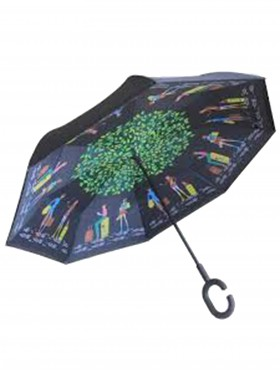 Cartoon People Print Double Layer Inverted Umbrellas W/ C-Shaped Handle