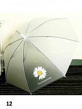 Matte Clear Daisy Pattern Manual Umbrella