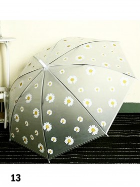 Matte Clear Little Daisy Pattern Manual Umbrella