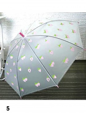 Matte Clear Strawberry Pattern Manual Umbrella