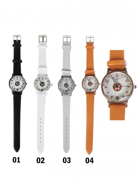 Faux Leather Watch With Star Print