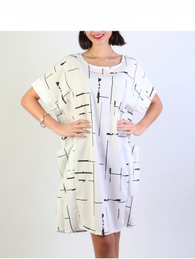 Linear Print Draped Dress W/ Pockets