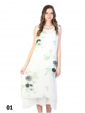 Layered Soild Shift Dress With Flower Printed