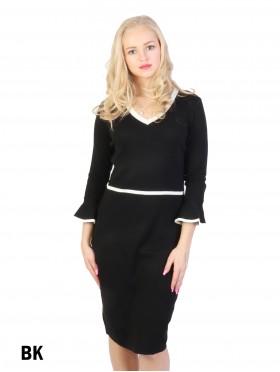 Classical Black Dress W/ Flare Sleeve