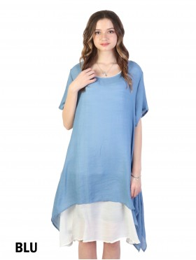 Layered Short-Sleeve Shift Dresss