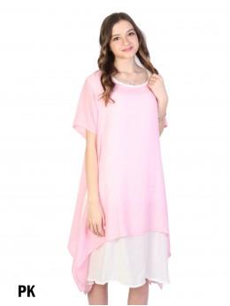 Layered Short-Sleeve Shift Dresss